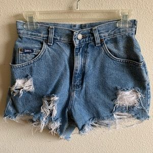 Lee High Waisted Distressed Jean Shorts